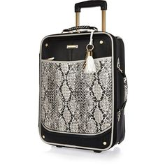 River Island Black snake print laser cut suitcase (525 SAR) ❤ liked on Polyvore featuring bags, structured top handle bag, river island bag, river island, black zipper bag and python bag
