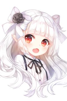 Anime Girl, Chibi, Cheveux blancs, Elf Ears, Red Eyes - Buddy The Elf Anime Neko, Kawaii Anime Girl, Loli Kawaii, Cute Anime Chibi, Chica Anime Manga, Kawaii Chibi, Anime Girl Cute, Beautiful Anime Girl, Anime Art Girl