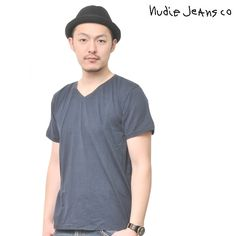 Nudie Jeans(ヌーディージーンズ) Tシャツ Vネック ネイビー V-NECK T-SHIRT Col.B21  ts-nude-029