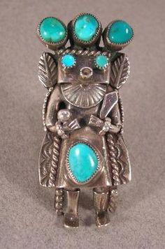 Old Pawn Navajo Silver Turquoise Kachina Ring
