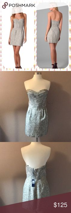 """Rebecca Minkoff Lara Bustier Boucle Dress Grey and oatmeal boucle bustier dress with black stitching . Lined . 16"""" armpit to armpit. 24.5"""" from armpit to bottom. Shell 68% virgin wool. 22% acrylic.5% wool. 5% alpaca. Lining 100% polyester. NWT . Rebecca Minkoff Dresses Strapless"""