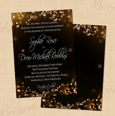 Champagne Bubbles Printable Wedding Invitations: 5 x 7 - Instant Download. $14.00, via Etsy.