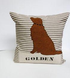 Golden Retriever Pillow Cover - Decorative Pillow Cushion Cover - Dog Pillow - Brown Ticking Stripe