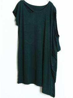 Dark Green Asymmetrical Short Sleeve Hollow Loose T-Shirt