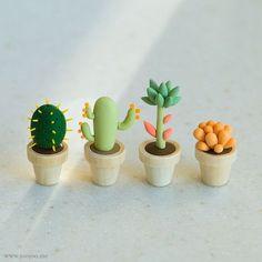 Petits cactus tout choux pâte fimo More