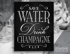"Vintage Wedding Sign Printable Art - ""Save Water Drink Champagne"" - Chalkboard Wedding digital file No Border - VC1 by ARTAVENUEPRINTS on Etsy"