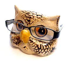 Vintage Eyeglasses Holder / Ceramic Owl Eye Glasses Holder / Stand / Cradle