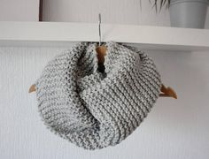 Bulky Infinity scarf hand knitted grey chunky scarf cowl