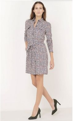 Leopard shird dress+black pumps. Fall Casual Business Outfit 2016