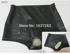 インフレータブル性器やお尻の肛門コンドームと短い黒いエロティックな女性のラテックスゴム