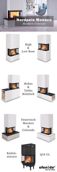 Der neue Nordpeis Monaco - 3 seitiger Kamin (Brennkammer Q34 UL) mit vielen Kombinationen: Alle Varianten auf einen Blick.
