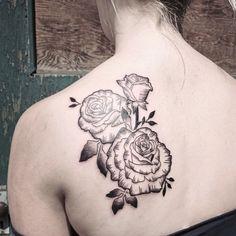 Rose tattoo / floral tattoo / back tattoo / girls with tattoos / idk / flower tattoo / tattoo ideas / black and grey tattoos / shoulder blade tattoo