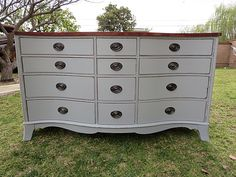 SHABBY CHIC/COTTAGE/FRENCH PROVINCIAL,DRESSER 12 DRAWERS,GREY/STAINED