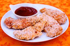 baked panko-crusted chicken tenders with honey-bbq dipping sauce  Monday night dinner thank you pinterest