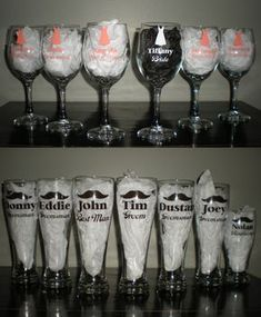 Wedding Party Wine Beer Glasses Set Bridal Gift by PrettiesByJenny