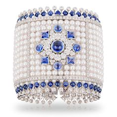 Fabergé Dentelle de Perles bracelet in white gold, with an openwork mosaic of white Akoya pearls and white diamonds and a sunburst motif of blue sapphires (£POA). Pearl Bracelet, Pearl Jewelry, Jewelry Box, Jewelry Bracelets, Jewelry Accessories, Vintage Jewelry, Fine Jewelry, Jewelry Design, Bangles