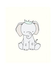 Elephant Nursery Art -- Little Elephant Prince -- Elephant Crown Nursery Art Print -- Nursery Decor -- Children Art Print Kids -- Wall Art