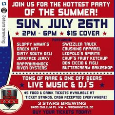 """#Repost @3starsbrewing  #SummerJam tickets are selling fast!!! Get yours today and don't miss out on """"the hottest party of the Summer""""! #dcbrews #craftcans #craftbeer #livemusic #goodtimes #duh http://ift.tt/1IfwDAU by donciccioefigli"""