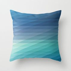 """etsy // iamchristinabot // 16""""x16"""" Blue Geometric Striped Throw Pillow COVER ONLY"""
