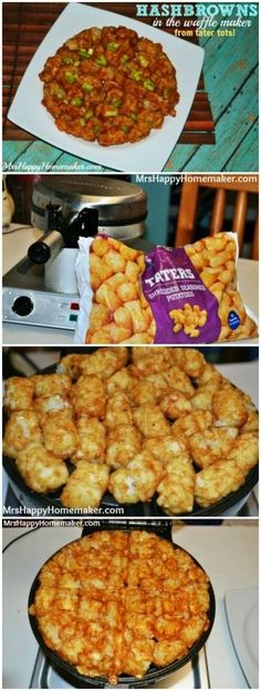 Hash Browns in the Waffle Maker from tater tots! (Plus a healthier option!