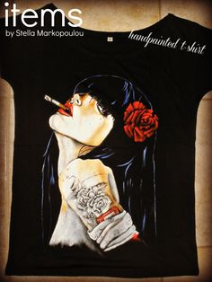 Handpainted t-shirt influenced by Brian Viveros painting. #fell_in_love_with_Viveros_girls