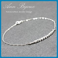 Sterling Silver Beaded Cubic Bar Bracelet, Dainty Cubic Beaded Bar Bracelet, Delicate Sterling Silver Beaded Bar Bracelet, Everyday Bracelet - Wedding bracelets (*Amazon Partner-Link)