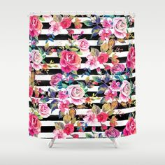 Cute spring floral and stripes watercolor pattern. This elegant, girly, boho chic, vibrant colorful blossom garden spring flowers...