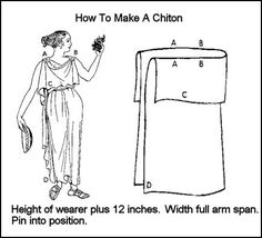 Early Greek Costume History - How to Make a Chiton Toga party Ancient Greek Dress, Ancient Greek Costumes, Ancient Greek Clothing, Ancient Greece, Ancient Rome, Toge Romaine, Costume Meduse, Greek Chiton, Toga Party