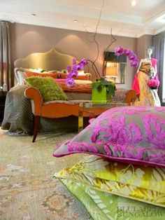 bright fabrics for bedroom decorating