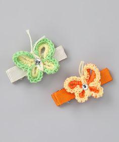 Orange & Green Swarovski Crocheted Butterfly Clips