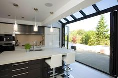 Making unique conservatory kitchen ideas is one of the things you should know when you want to make the best kitchen ideas. The conservatory is relating to the kitchen. It is because you can change your current kitchen space for… Continue Reading → Conservatory Kitchen, Kitchen Diner Extension, House Design, Interior, Home, Bifold Doors, Contemporary Kitchen, New Homes, Open Plan Kitchen