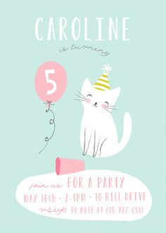 kitten birthday theme party invitiation from minted Cat Themed Parties, 2nd Birthday Parties, Balloon Birthday, Birthday Ideas, Kitten Party, Cat Party, Lila Party, Puppy Birthday, Birthday Invitations Kids
