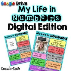 """This is a digital """"All About Me"""" math activity. It's great for the beginning of the year when you're trying to get your students excited about math. On this page students will fill out the pre-filled boxes such as """"I am _______ years old"""". There are 3 boxes that they can use to create math facts about themselves."""
