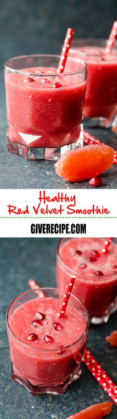 Red Velvet Smoothie is completely healthy, refreshing and energizing. This smoothie is an ultimate immune system booster. No artificial sweetener or coloring! Grapefruit Smoothie, Juice Smoothie, Smoothie Drinks, Smoothie Bowl, Healthy Smoothies, Healthy Drinks, Smoothie Recipes, Detox Drinks, Healthy Foods