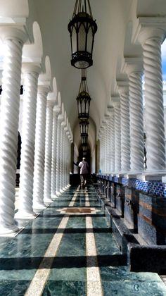 Brunei mosque corridor worshipper
