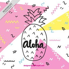 Pineapple aloha background Free Vector