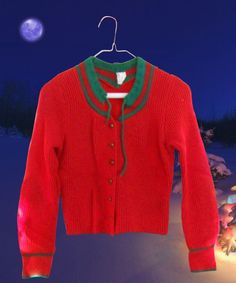 Ugly Christmas Sweater Vintage Women XS Cardigan Wool Red Green Cropped #Unbranded #Cardigan