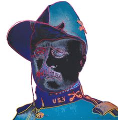 Andy Warhol's Teddy Roosevelt 386, created in 1986, depicts a young Lieutenant Colonel Theodore Roosevelt in his Rough Rider uniform from a photograph taken in 1898. This iconic print is a part of Warhol's Cowboys and Indians series.
