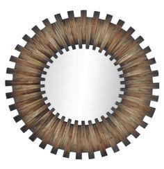 """Newport Sunburst Mirror wood wedges making a sunburst around a round mirror. 36"""" diameter.  Designnashville.com shipping to all locations"""