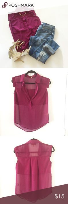 Princess Vera Wang Sheer Pink Blouse Pink sheer blouse that is from Kohl's, the brand is Princess Vera Wang   It has a solid panel around the chest area. Really light weight for spring/summer   Size XS Princess Vera Wang Tops Blouses