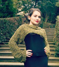 autumn sweater / olive shrug / cropped sweater / long sleeve shrug / green sweater / cotton sweater / knitted shrug on Etsy, $84.35