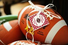 "party favors for sports theme birthday. ""thanks for coming. we had a ball. Sports Theme Birthday, Football Birthday, First Birthday Parties, Boy Birthday, Birthday Ideas, Football Wedding, Theme Parties, Birthday Board, Elmo Party"