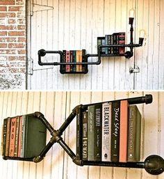 パイプを自在につなぎ合わせて、壁に本を固定してみるのもいいアイディアです。
