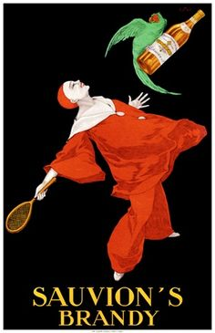 Sauvion's Brandy by Stall 1925 French- Beautiful Vintage Poster Reproductions. This vertical french wine and spirits poster features a clown with a tennis racket looking up at a bird flying away with a bottle. Giclee Advertising Print. Classic Posters