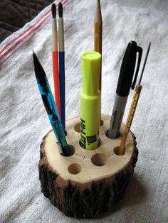 Natural Elderberry Tree Stump w/ Bark Tool, Pen, Pencil Holder