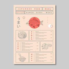 Restaurant Ramen, Japanese Restaurant Menu, Restaurant Design, Cafe Menu Design, Japanese Menu, Restaurant Menu Template, Restaurant Branding, Japanese Design, Pizza Branding