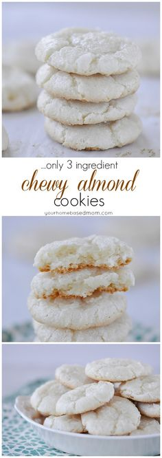 Chewy Almond Cookies - Only three ingredients: almond paste, sugar, and eggs. Almond Paste Cookies, Almond Meal Cookies, Almond Flour Recipes, Yummy Cookies, Italian Almond Cookies, Keto Cookies, Chip Cookies, Egg White Cookies, Italian Cookie Recipes