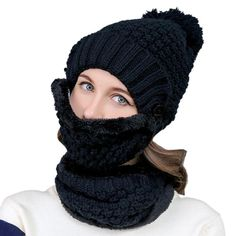 f42e49aa958 Autumn And Winter Female Hat Scarf Mask Combination Packages Plus Velvet  Thick Knitted Woolen Cap Solid