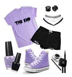 """Pastel Goth (purple)"" by izuna-wolf on Polyvore featuring art"