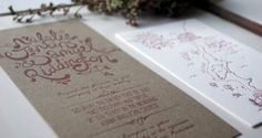 Ruby's Tuesday Letterpress - two colour wedding invitation suite with hand lettering plus split fountain colours across each piece
